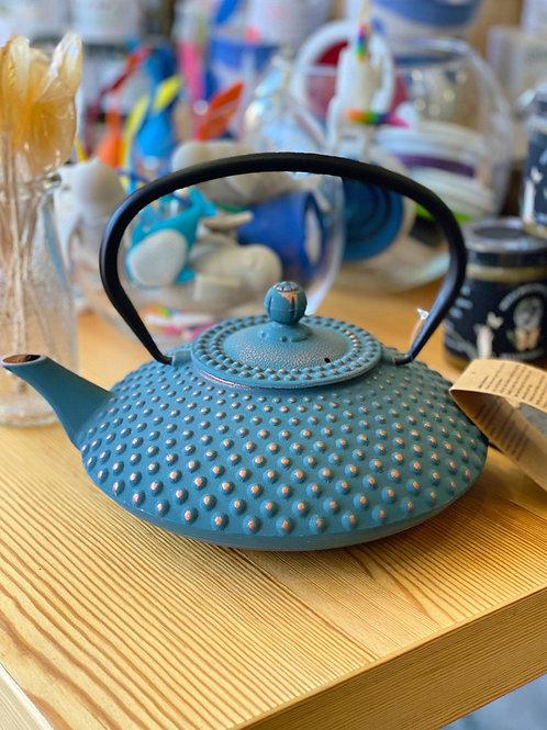 Turquoise Cast Iron Tea Kettle