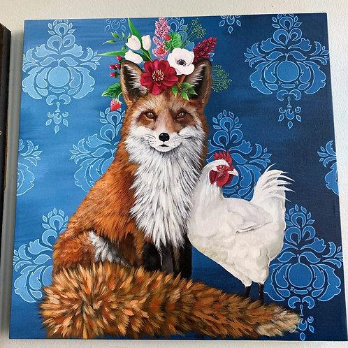 Wall Art - Fox & Rooster 21x21