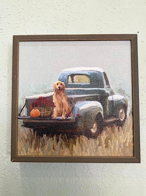Wall Art - Golden Pup In Pickup Mini Framed Canvas