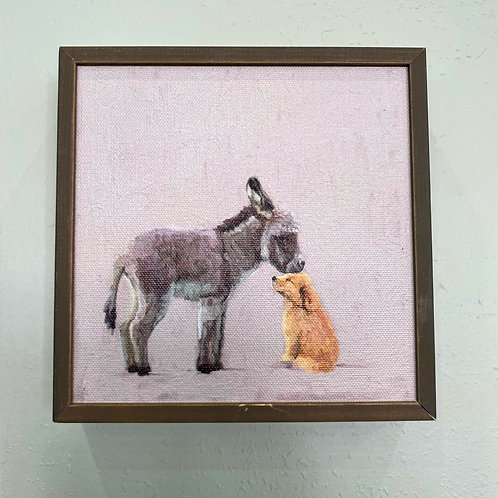 Wall Art - Donkey & Pup Mini Framed Canvas