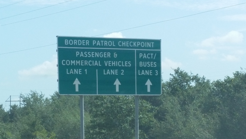 Border Patrol checkpoint signs near Kings Ranch Texas
