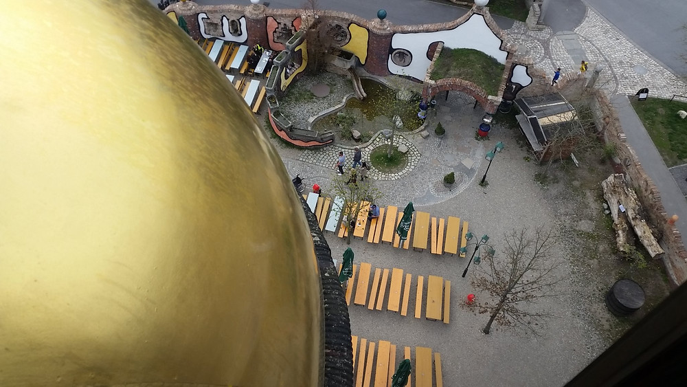 View of the biergarten from the top of the Kuchlbaur-Turm