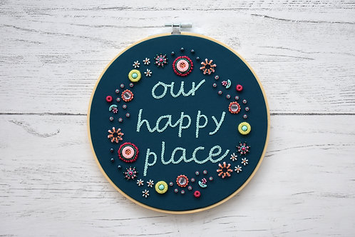 Our Happy Place Embellished Embroidery Hoop