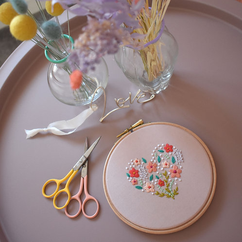 Floral Heart Embroidery Hoop