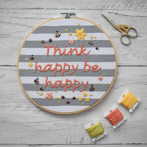 Think Happy Be Happy Hoop