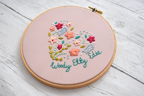 Family Floral Heart Hoop