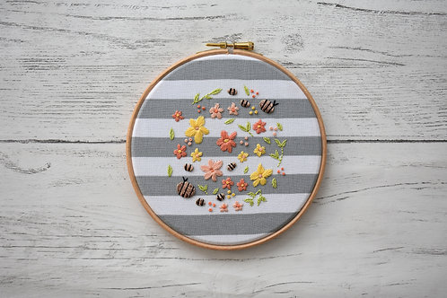 The Bee Garden Embellished Embroidery Hoop