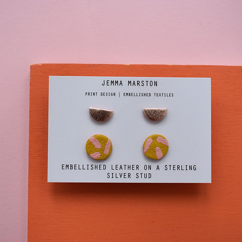 2 Set of Leather Studs - Mini Stud & Half Moon Stud