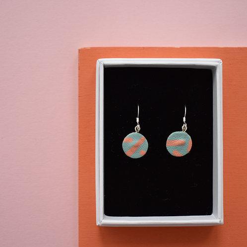 Mini Leather Painted Hook Earrings