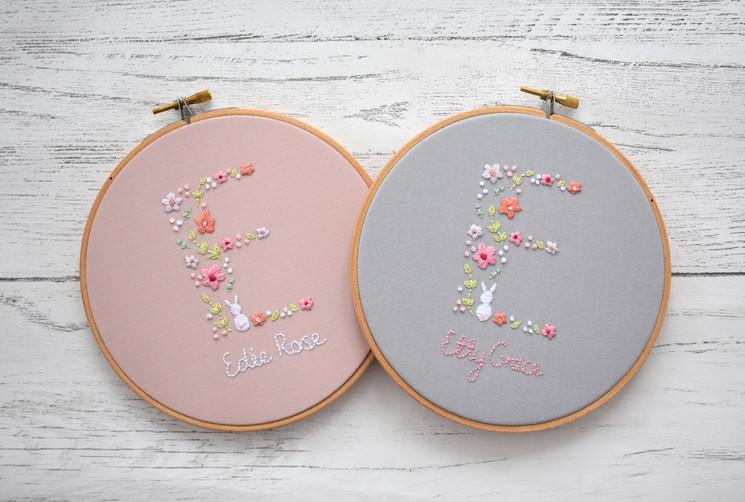 Bunny Flower Garden Letter Hoop