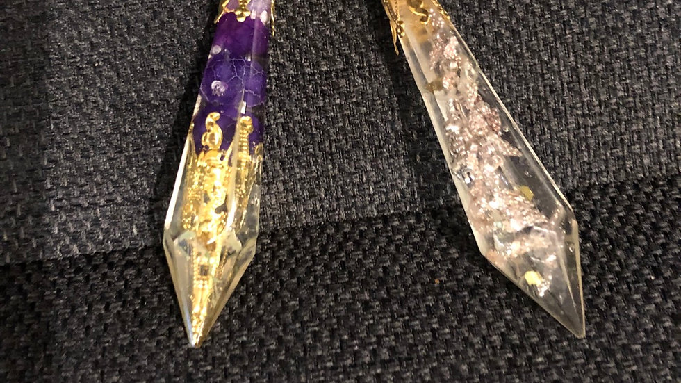 Pendulums the pendel with purple  beads and the other with angel wings