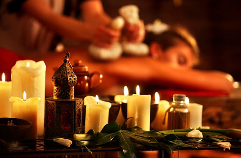 Massage of woman in spa salon. Girl in m