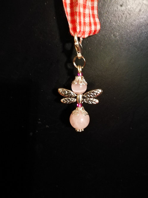 Roze Quartz dragonfly angel