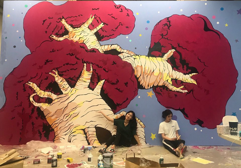 two days mural painting