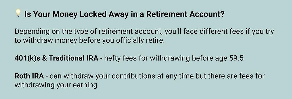 money locked away in retirement accounts