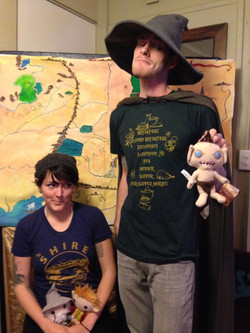 Staff shows off our Hobbit shirts