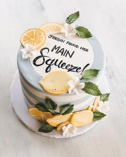 """Main Squeeze"" lemon themed bridal shower cake"