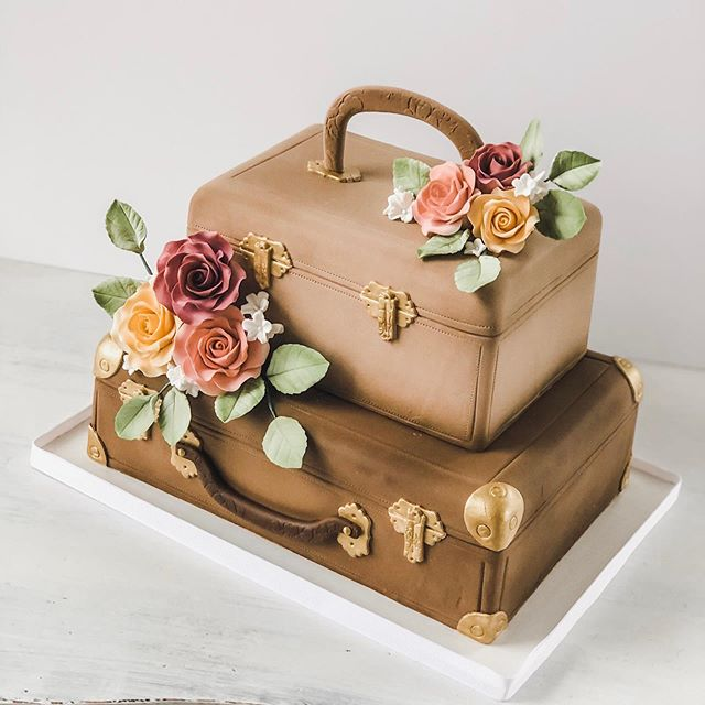 Ms. to Mrs. Vintage Luggage Cake