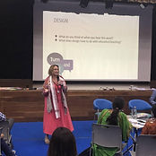 Dr. M Elizabeth Azukas teaching and presenting at the Shiv Nadar Foundation in India.