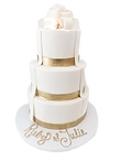 custom cake fondant white tiered with golden accents and ribbons