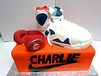 custom cake shoe box sneaker with headphones