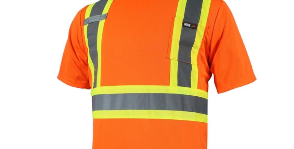 T-shirt orange de sécurité manches courtes