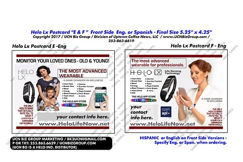 "HELO Lx Postcard ""E & F"" ; 2-Sided Design (CMYK) Digital Design"