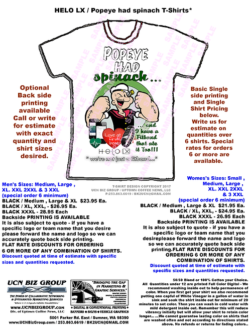 "HELO / BioZen T-Shirts (No Steroids Here...) Only Spinach -""it's Wellness!"""