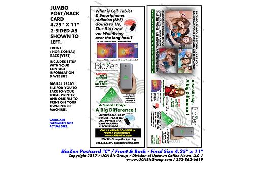 """BioZen Jumbo Postcard C ( Dig.Design/ Pick 3 Min) 2 Sided 11"""" x 4.25"""""""