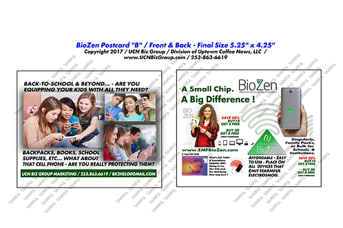 "BioZen Postcard B ( Digital Format Pick 3 Minimum) 2 Sided 5.25"" x 4.25"""