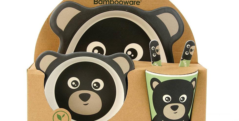 Black Bear Kid's Dinnerware Set. Bamboo Fibre 5-pc.