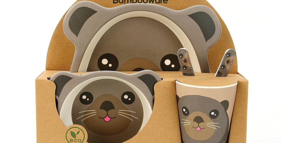 Sea Otter Kid's Dinnerware Set. Bamboo Fibre 5-pc.