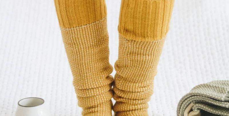 Open Work Two-Tone Lounge Socks