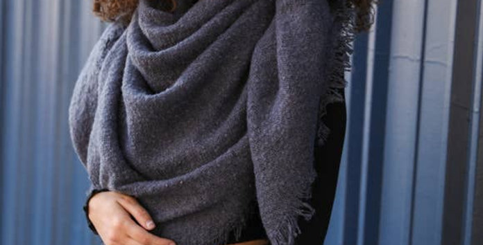Solid Marl Woven Blanket Scarf
