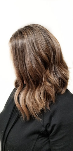 Bob Haircut with pops of Blonde