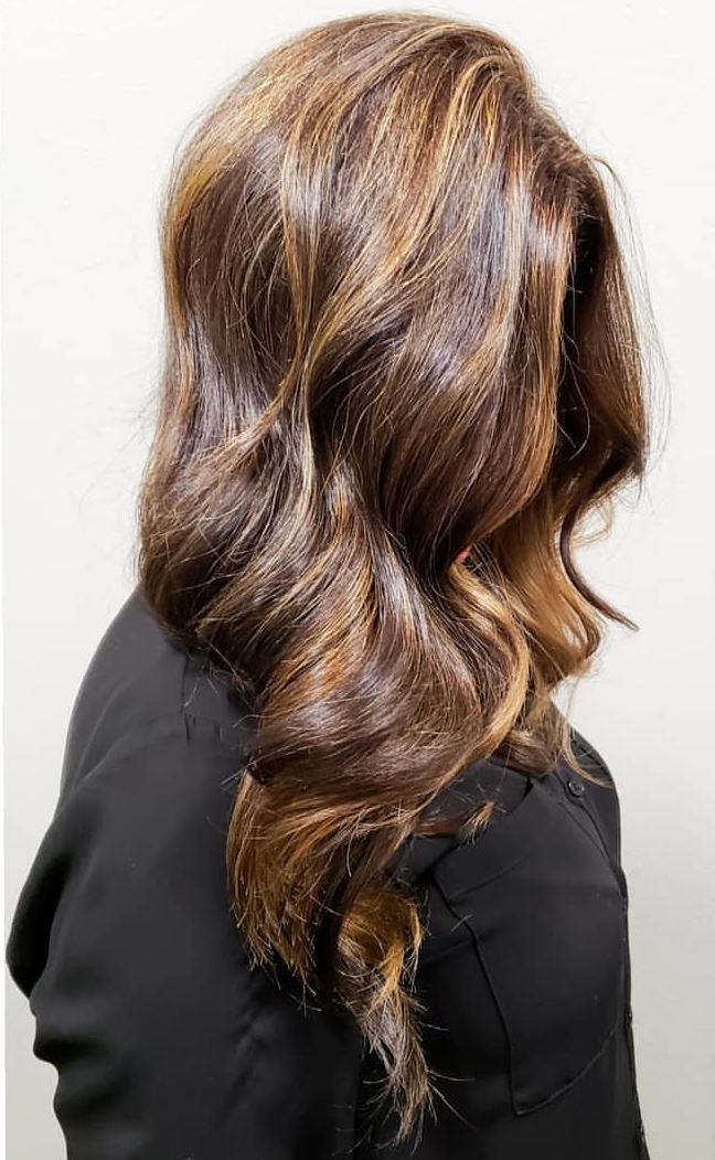 Dark Chocolate Balayage with caramel ribbon
