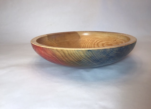 Elm bowl with multiple layers of dye on exterior