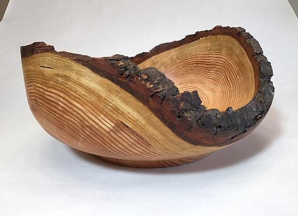 Large live edge Fir bowl with bark on rim