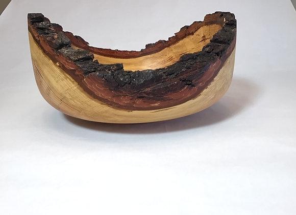 large live edge Fir bowl withbark on rim