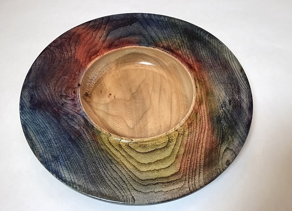 Wide rimmed Elm bowl with multiple layers of dye on rim