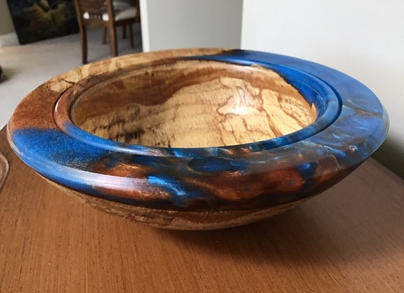 Spalted Oak and resin bowl b
