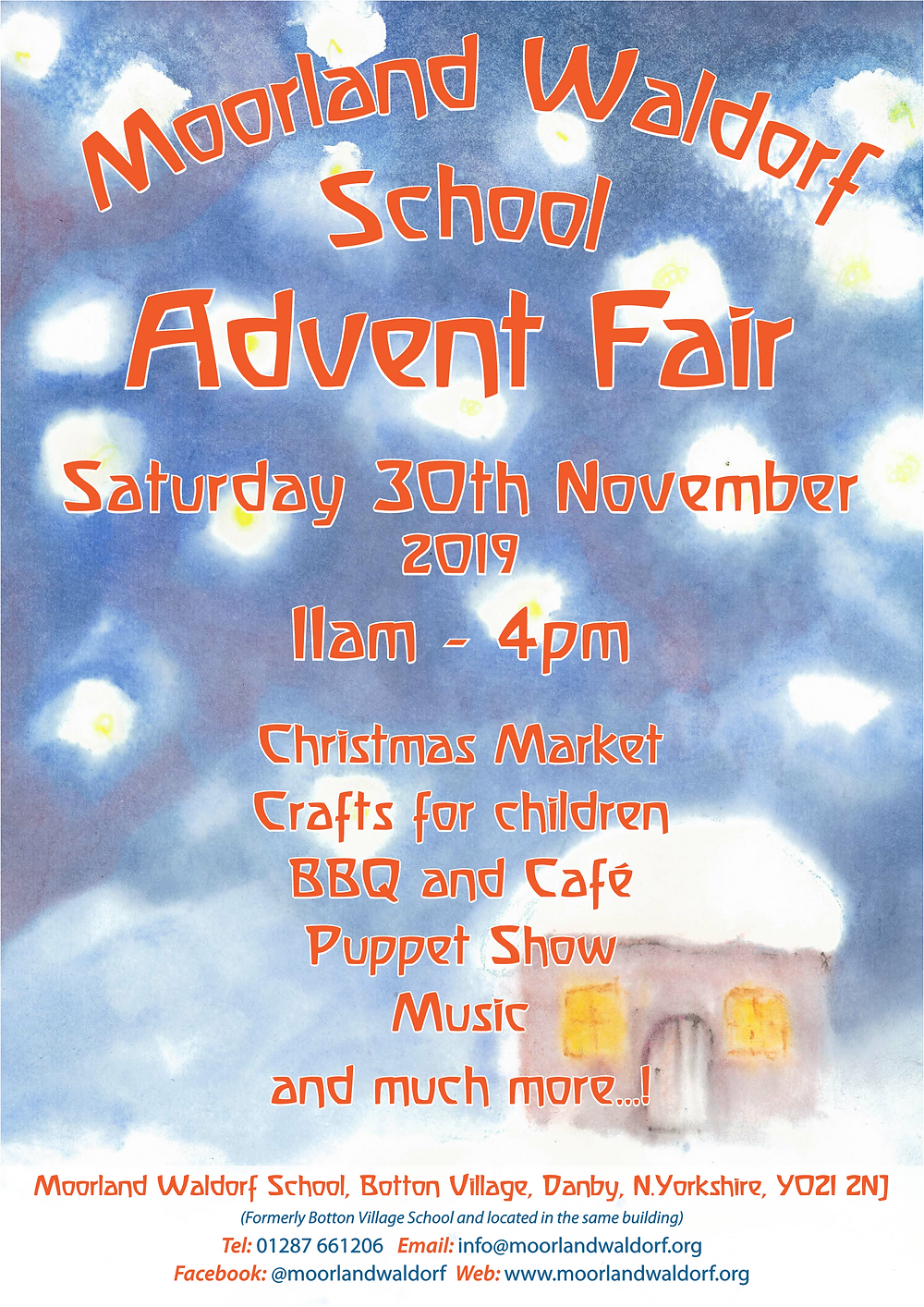 Come in from the wintery weather and enjoy our Advent Fair as we begin the Christmas season. Enjoy a warm drink and some soup while listening to some festive music, then meander around the market taking in the beautiful crafts and activities.