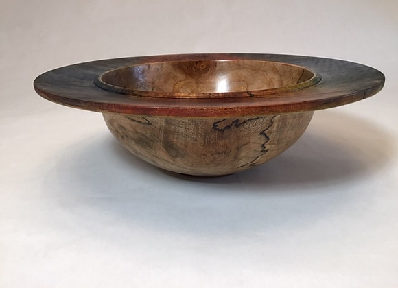 Spalted Maple and layered dye rim, bowl