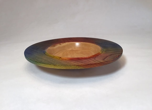 Wide rimmed bowl with layered dyes on rim