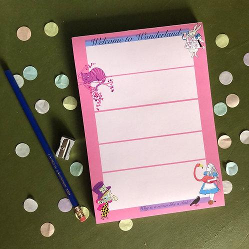 Wonderland notepad