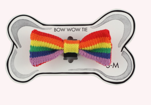 Knitted Pride Bow Tie for your dog in Pride colours