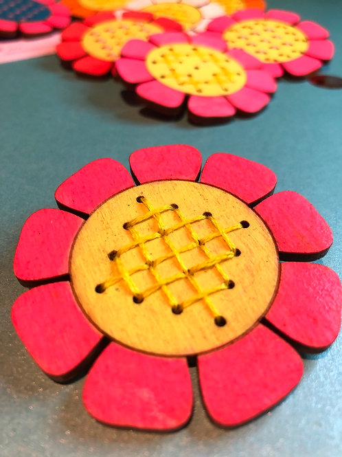 Pink & yellow hand embroidered flower brooch (16 embroidery holes)