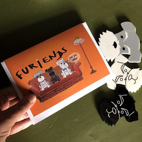 Schnauzer Furiends greetings card