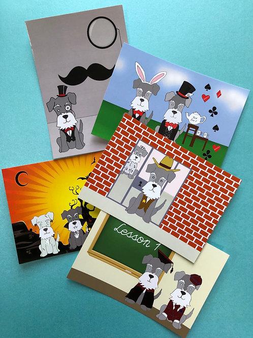 Schnauzer(pack of 5 postcards)