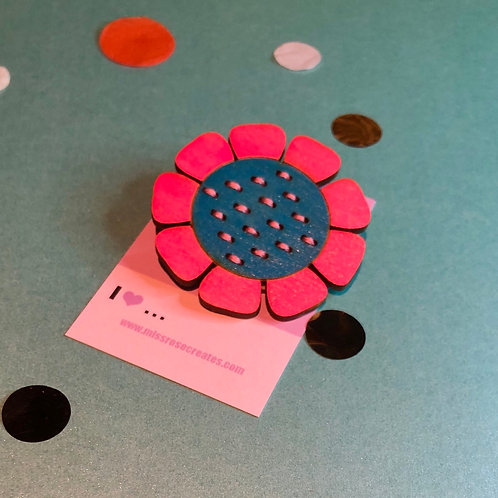 Blue hand embroidered flower brooch